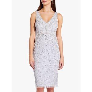 Adrianna Papell Sleeveless Beaded Mini Dress Serenity, Serenity