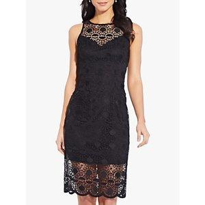Adrianna Papell Sunrise Lace Sheath Mini Dress Black, Black