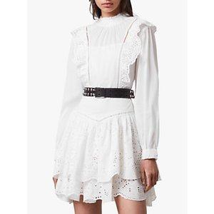 Allsaints Broiderie Mini Dress, Chalk White