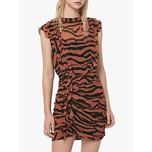 Allsaints Hali Zephyr Zebra Print Ruched Mini Dress, Toffee/black