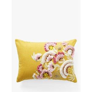 Anthropologie Olga Prinku Hand Embroidered Cushion, Yellow