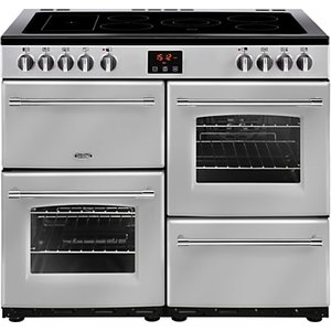 Belling Farmhouse 100e Electric Range Cooker With Ceramic Hob, Silver