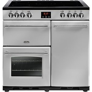 Belling Farmhouse 90e Electric Range Cooker With Ceramic Hob, Silver