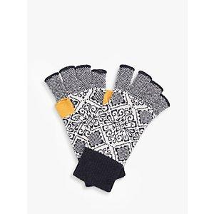 Brora Cashmere Nordic Fingerless Gloves, Midnight Womens Accessories