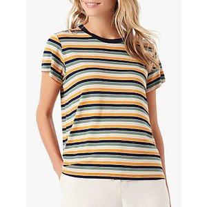 Brora Stripe Jersey T-shirt, Oatmeal/sage Womens Tops
