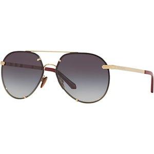 Burberry Be3099 Women's Aviator Sunglasses Womens Accessories, Gold
