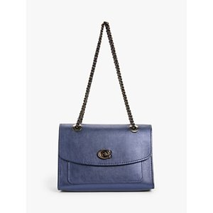 Coach Parker Leather Shoulder Bag Womens Accessories, Metallic Blue