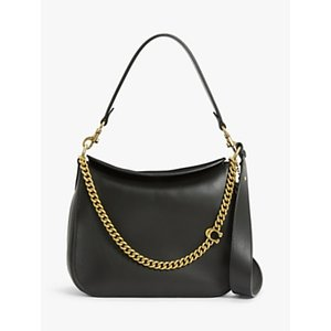 Coach Signature Chain Leather Hobo Bag Womens Accessories, Black