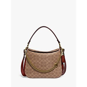Coach Signature Chain Leather Hobo Bag Womens Accessories, Tan/Rust