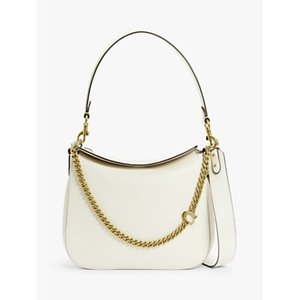 Coach Signature Chain Leather Hobo Bag Womens Accessories, Chalk