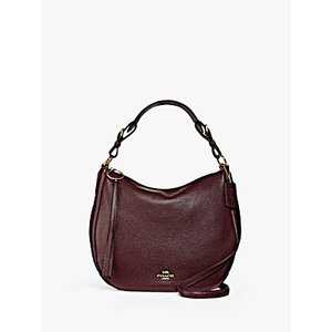 Coach Sutton Pebbled Leather Hobo Bag Womens Accessories, Oxblood