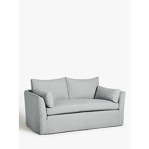Croft Collection Cascade Medium 2 Seater Sofa, Loose Cover, Bracken Herringbone Duck Egg