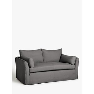 Croft Collection Cascade Medium 2 Seater Sofa, Loose Cover, Bracken Herringbone Charcoal
