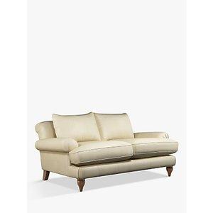 Croft Collection Findon Medium 2 Seater Leather Sofa, Dark Leg, Nature Cream