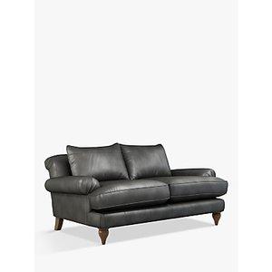 Croft Collection Findon Medium 2 Seater Leather Sofa, Dark Leg, Winchester Anthracite