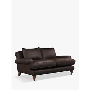 Croft Collection Findon Medium 2 Seater Leather Sofa, Dark Leg, Demetra Charcoal