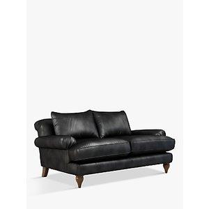 Croft Collection Findon Medium 2 Seater Leather Sofa, Dark Leg, Nature Black