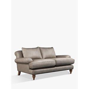 Croft Collection Findon Medium 2 Seater Leather Sofa, Dark Leg, Nature Putty