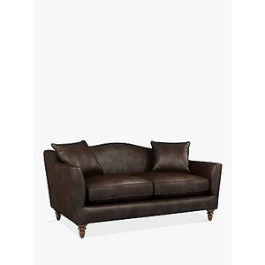 Croft Collection Melrose Medium 2 Seater Leather Sofa, Dark Leg, Nature Brown