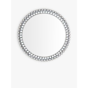 Crystal Frame Round Wall Mirror  House Accessories
