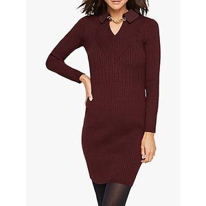 Damsel In A Dress Stefania Collar Chain Detail Knitted Dress Burgundy, Burgundy