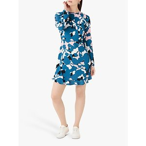 Finery Finchley Abstract Floral Mini Dress, Blue/multi