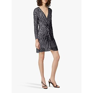French Connection Emille Embellished Twist Front Mini Dress Grey, Grey