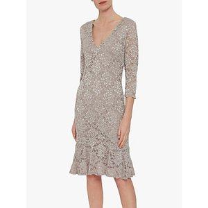 Gina Bacconi Nadalie Tailored Lace Dress Champagne, Champagne
