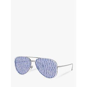 Giorgio Armani Ar6084 Women's Aviator Sunglasses, Silver/blue Womens Accessories