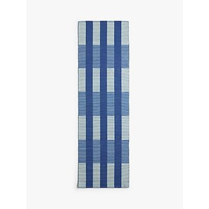 House By John Lewis & Partners Check Grid Runner Rug, L240 X W70 Cm, Navy