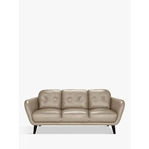 House By John Lewis Arlo Large 3 Seater Leather Sofa, Dark Leg, Nature Putty