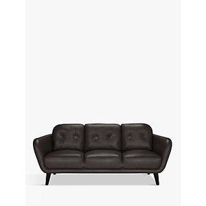 House By John Lewis Arlo Large 3 Seater Leather Sofa, Dark Leg, Demetra Charcoal