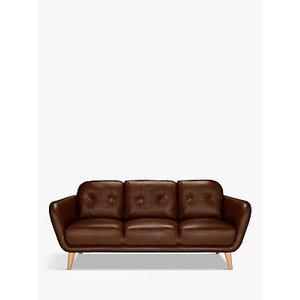 House By John Lewis Arlo Large 3 Seater Leather Sofa, Dark Leg, Contempo Dark Chocolate
