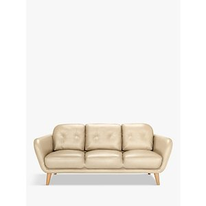 House By John Lewis Arlo Large 3 Seater Leather Sofa, Dark Leg, Contempo Ivory