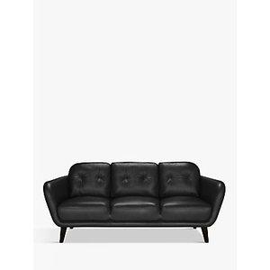 House By John Lewis Arlo Large 3 Seater Leather Sofa, Dark Leg, Contempo Black