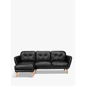 House By John Lewis Arlo Lhf Chaise End Leather Sofa, Dark Leg, Nature Black