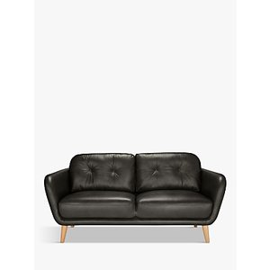House By John Lewis Arlo Medium 2 Seater Leather Sofa, Dark Leg, Winchester Anthracite