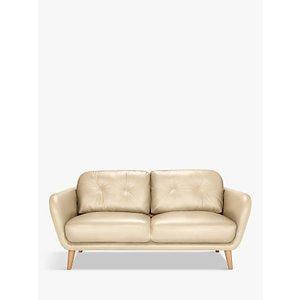 House By John Lewis Arlo Medium 2 Seater Leather Sofa, Dark Leg, Contempo Ivory