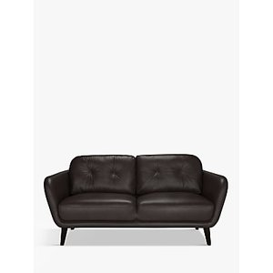 House By John Lewis Arlo Medium 2 Seater Leather Sofa, Dark Leg, Demetra Charcoal