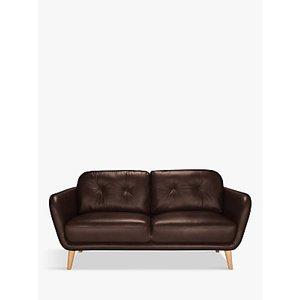 House By John Lewis Arlo Medium 2 Seater Leather Sofa, Dark Leg, Nature Brown