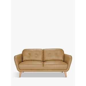 House By John Lewis Arlo Medium 2 Seater Leather Sofa, Dark Leg, Sellvagio Parchment