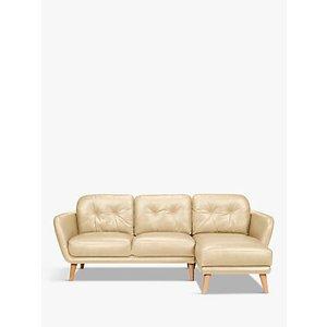 House By John Lewis Arlo Rhf Chaise End Leather Sofa, Light Leg, Nature Cream