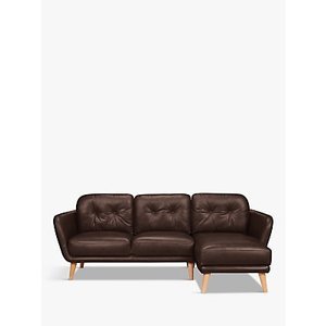 House By John Lewis Arlo Rhf Chaise End Leather Sofa, Light Leg, Nature Brown