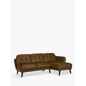 House By John Lewis Arlo Rhf Chaise End Leather Sofa, Light Leg, Demetra Light Tan