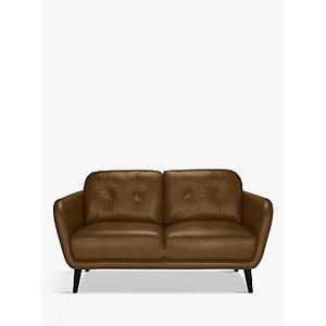House By John Lewis Arlo Small 2 Seater Leather Sofa, Dark Leg, Demetra Light Tan