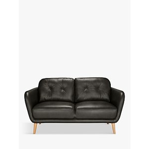 House By John Lewis Arlo Small 2 Seater Leather Sofa, Dark Leg, Winchester Anthracite