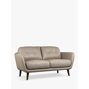 House By John Lewis Arlo Small 2 Seater Leather Sofa, Dark Leg, Winchester Brioche