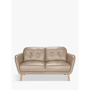 House By John Lewis Arlo Small 2 Seater Leather Sofa, Dark Leg, Nature Putty