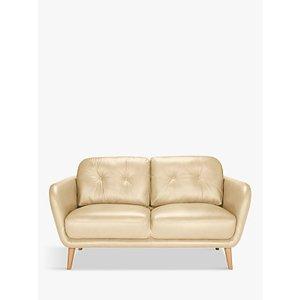 House By John Lewis Arlo Small 2 Seater Leather Sofa, Dark Leg, Nature Cream