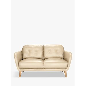 House By John Lewis Arlo Small 2 Seater Leather Sofa, Dark Leg, Contempo Ivory